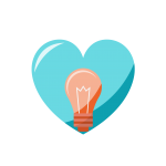 heart icon with a bulb in the center representing our love for innovation